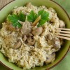 Risotto mit Forelle, Blue Cheese und Champignons