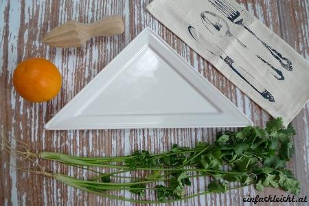 Erstes Setting für Orangen-Fenchel-Salat