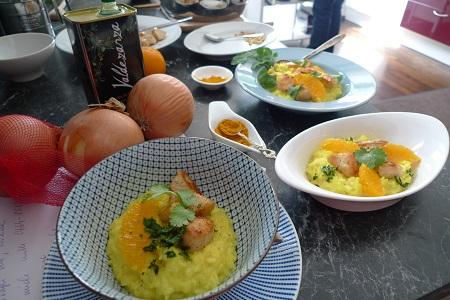 3x Kurkuma-Orangen-Risotto mit Hühnerfleisch
