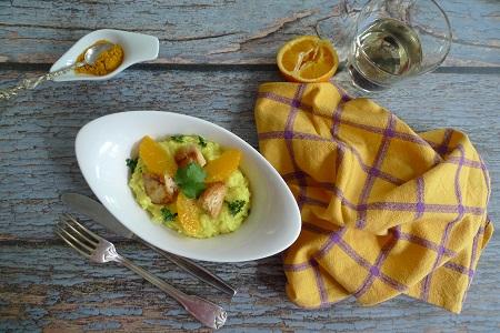 Kurkuma-Orangen-Risotto mit Huhn
