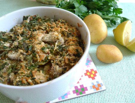 Torteria di Patate e Funghi: Kartoffel-Pilzauflauf