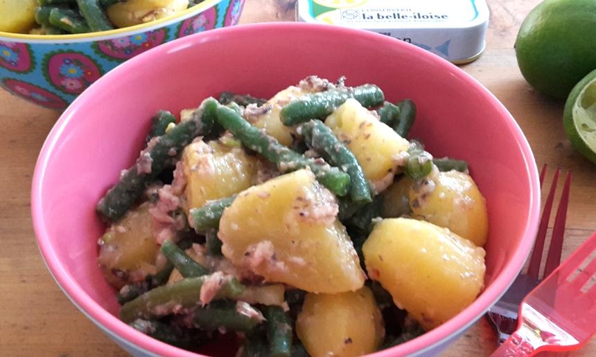 Kartoffelsalat mit Sardinen und Fisolen
