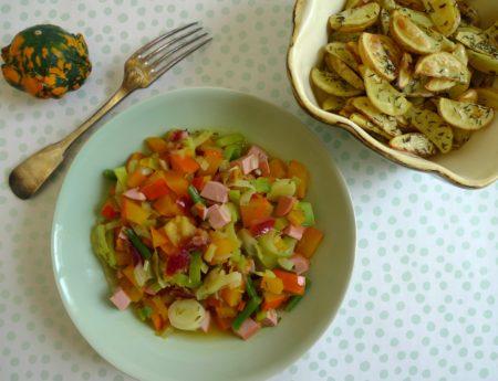 Easy-peasy Kürbis-Lauch-Pfanne mit Kümmelkartoffeln