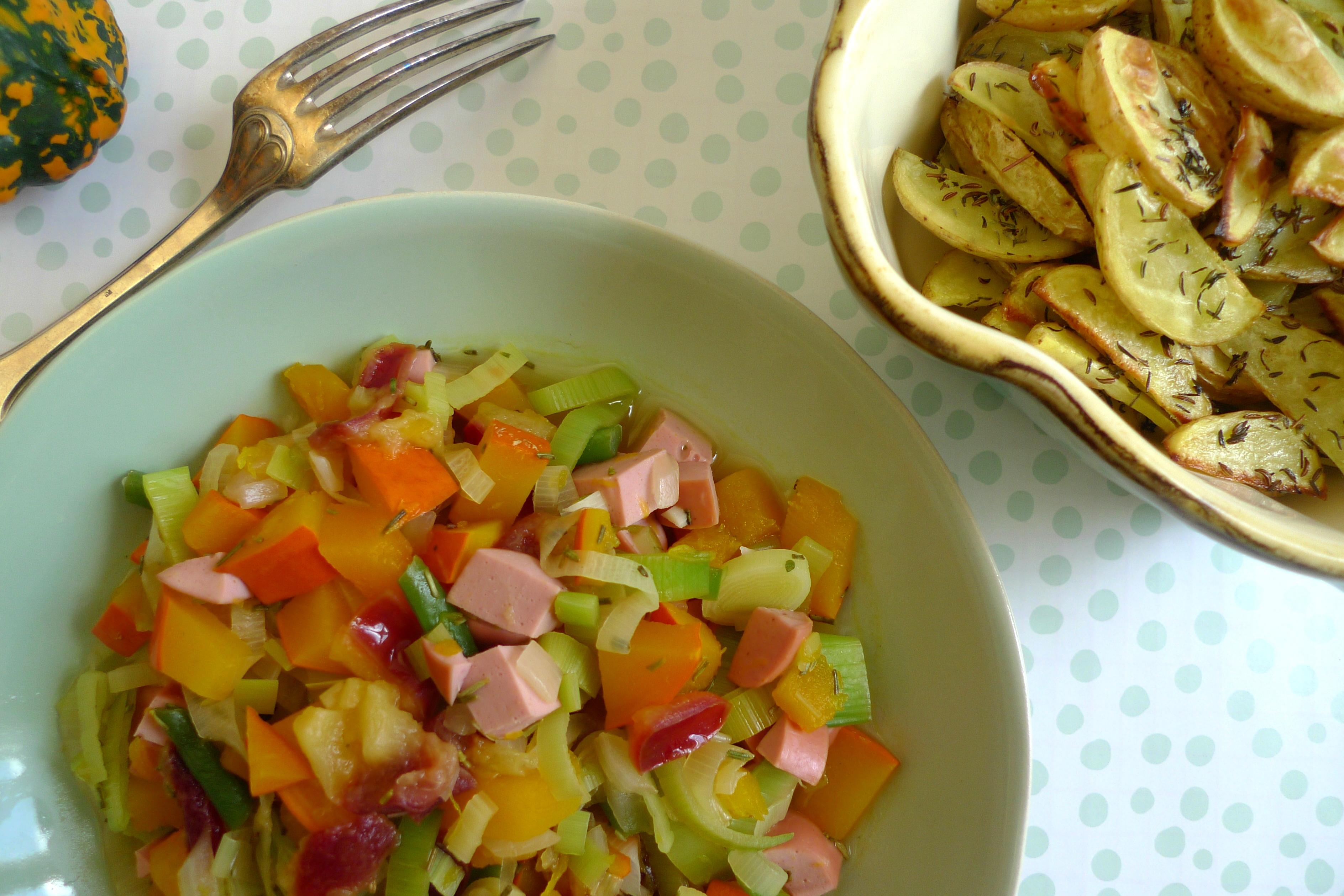 Kürbis-Lauch-Pfanne mit Kümmelkartoffeln